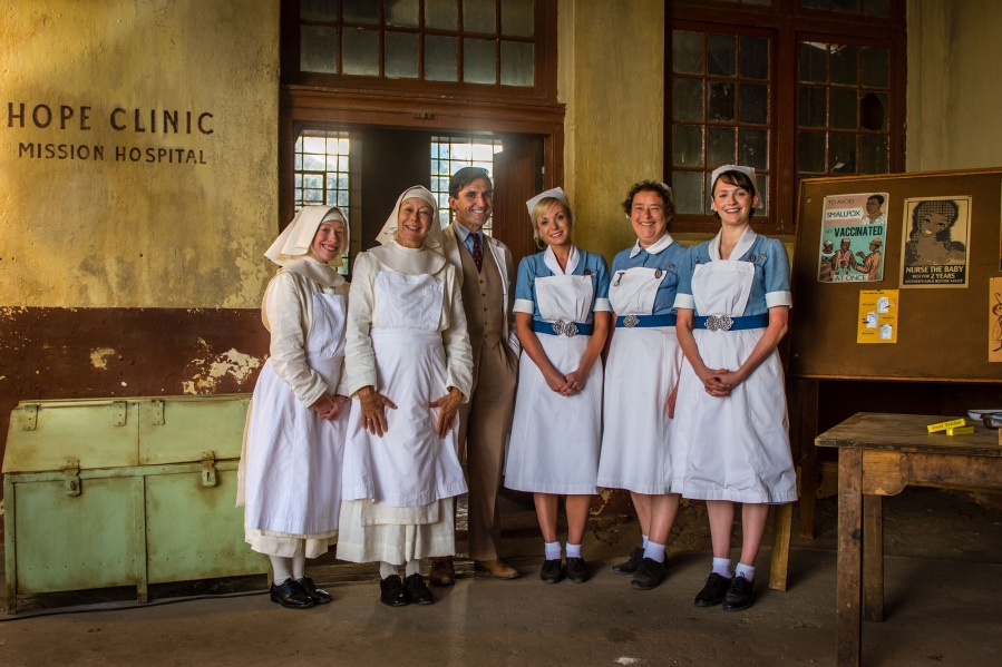Sister Winifred (VICTORIA YEATES), Sister Julienne (JENNY AGUTTER), Dr Turner (STEPHEN MCGANN), Trixie (HELEN GEORGE), Nurse Phyllis (LINDA BASSETT) and Barbara (CHARLOTTE RITCHIE)